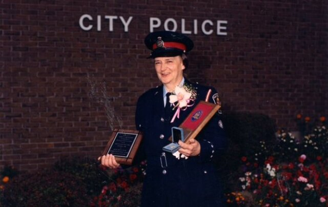 At her retirement in 1991 after serving more than 42 years as an officer.